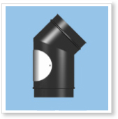 Stove Pipe, 45 Degree Elbow with Door